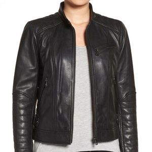 Black Quilted Moto Leather Jacket